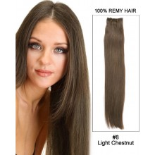 "18"" Silky Straight Brazilian Remy Hair Weave Human Hair Extensions-#8 Light Chestnut"