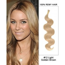 "14"" #12 Light Golden Brown Body Wave Stick Tip I Tip 100% Remy Hair Keratin Hair Extensions-50 strands, 1g/strand"