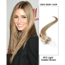 "14"" #12 Light Golden Brown Straight Micro Loop 100% Remy Hair Human Hair Extensions-50 strands, 1g/strand"