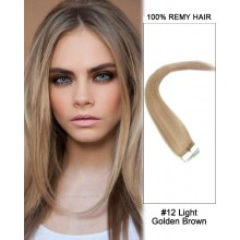 "14"" #12 Light Golden Brown Straight 100% Remy Hair Tape In Hair Extensions-40 pcs"