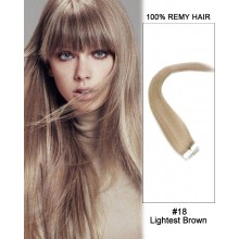 "14"" #18 Lightest Brown Straight 100% Remy Hair Tape In Hair Extensions-20 pcs"