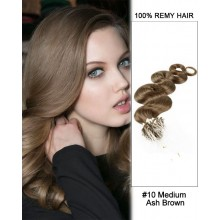 "14"" #10 Medium Ash Brown Body Wave Micro Loop 100% Remy Hair Human Hair Extensions-100 strands, 1g/strand"