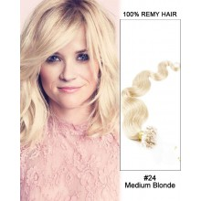 "14"" #24 Medium Blonde Body Wave Micro Loop 100% Remy Hair Human Hair Extensions-100 strands, 1g/strand"