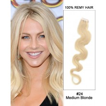 "14"" #24 Medium Blonde Body Wave 100% Remy Hair Tape In Hair Extensions-20 pcs"