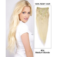 "14"" 7pcs #24 Medium Blonde Straight 100% Remy Hair Clip in Hair Extensions"