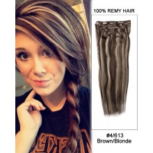 "16"" 7pcs #4/30 Medium Brown/Auburn Straight 100% Remy Hair Clip In Human Hair Extensions"