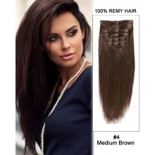 "16"" 7pcs #4 Medium Brown Straight 100% Remy Hair Clip In Human Hair Extensions"