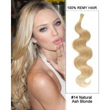 "14"" #14 Natural Ash Blonde Body Wave Stick Tip I Tip 100% Remy Hair Keratin Hair Extensions-50 strands, 1g/strand"