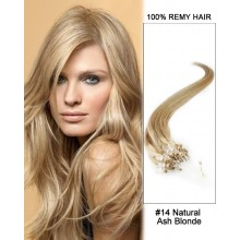 "14"" #14 Natural Ash Blonde Straight Micro Loop 100% Remy Hair Human Hair Extensions-50 strands, 1g/strand"