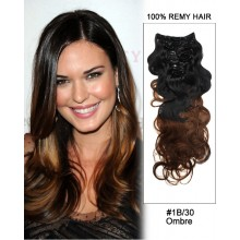 """16""""  7pcs #1B/30 Black Auburn Ombre Body Wave Remy Hair Clip In Hair Extensions"""