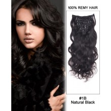 """14"""" 7pcs#1 Off Black Body Wave 100% Remy Hair Clip In Hair Extensions"""