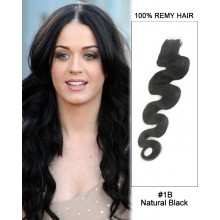 "14"" #1B Natural Black Body Wave 100% Remy Hair Tape In Hair Extensions-20 pcs"
