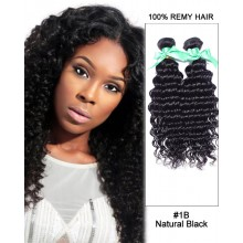 "14"" #1B Natural Black Deep Wave Weave 100% Remy Hair Human Hair Extensions"