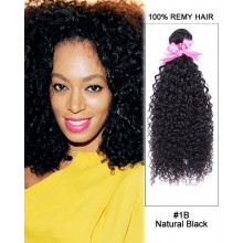 "16"" #1B Natural Black Kinky Curly Weave 100% Remy Hair Human Hair Extensions"
