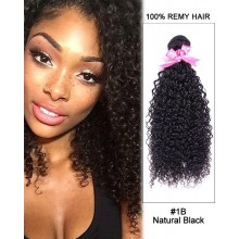 "14"" #1B Natural Black Kinky Curly Weave 100% Remy Hair Human Hair Extensions"