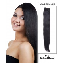"14"" Silky Straight Brazilian Remy Hair Weave Weft Human Hair Extension-#1B Natural Black"