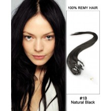 "14"" #1B Natural Black Straight Micro Loop 100% Remy Hair Human Hair Extensions-50 strands, 1g/strand"