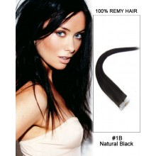 "14"" #1B Natural Black Straight 100% Remy Hair Tape In Hair Extensions-40 pcs"