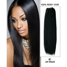"16"" Yaki Straight Brazilian Remy Hair Weave Weft Human Hair Extension-#1 Jet Black"
