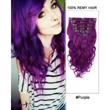 "14"" 7pcs #Purple Body Wave 100% Remy Hair Clip In Human Hair Extensions"