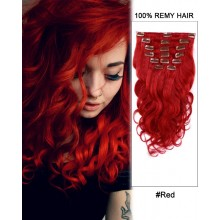 "14"" 7pcs #Red Body Wave 100% Remy Hair Clip In Human Hair Extensions"