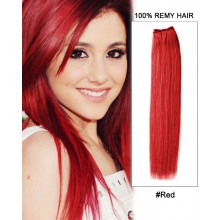"18"" #Red Straight Weave 100% Remy Hair Weft Human Hair Extensions"