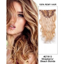 """14"""" 7pcs #27/613 Strawberry/Bleach White Blonde Body Wave 100% Remy Hair Clip In Human Hair Extensions"""