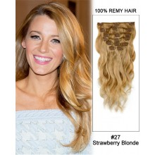 "20"" 7pcs #27 Strawberry Blonde Body Wave 100% Remy Hair Clip in Hair Extensions"