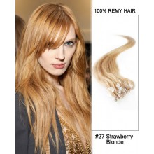 "14"" #27 Strawberry Blonde Straight Micro Loop 100% Remy Hair Human Hair Extensions-50 strands, 1g/strand"