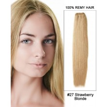 "20"" #27 Strawberry Blonde Straight Weave Remy Hair Weft Human Hair Extensions"