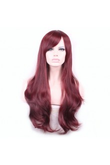 Wig Gradient Long Curly Hair Women and Girl Daily Cosplay Party Costume Wig(Wine red)