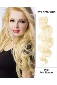 "20"" #60 Ash Blonde Body Wave Weave Remy Hair Weft Human Hair Extensions"