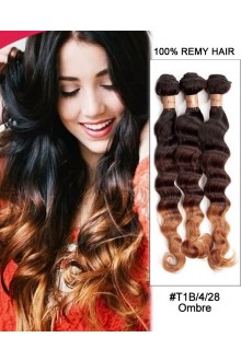 """16"""" Triple Ombre Deep Wave Brazilian Hair Weave Remy Hair Weft Human Hair Extensions"""