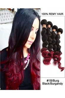 """20""""  Loose Wave Black Burgandy Ombre Remy Hair Weave Weft Human Hair Extension"""
