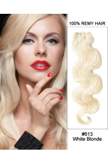"20"" #613 Bleach White Blonde Body Wave Weave Remy Human Hair Extensions"