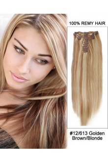 "14"" 7pcs #12/613 Brown/Blonde Straight 100% Remy Hair Clip In Human Hair Extensions"