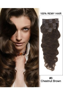"""24"""" 7pcs #6 Chestnut Brown Body Wave 100% Remy Hair Clip in Hair Extensions"""