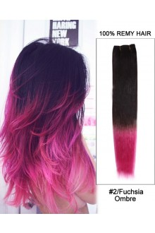 "16"" #2/Fuchsia  Ombre Straight Weave 100% Remy Hair Weft Hair Extensions"