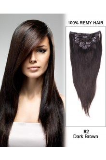 "24"" 9pcs #2 Dark Brown Straight Clip in Remy Human Hair Extensions"