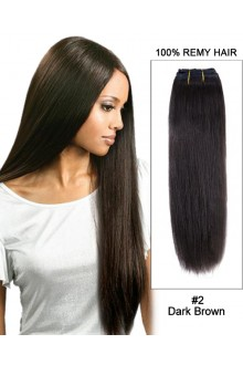 "14""#2 Dark Brown Straight Weave 100% Remy Hair Weft  Hair Extensions"