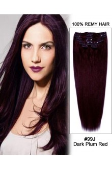 "20"" 11pcs Straight Clip in Remy Human Hair Extensions #99J Dark Plum Red"