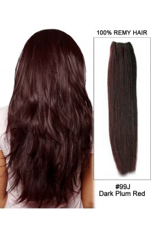 "20"" #99J Dark Plum Red Straight Weft  Remy Human Hair Extension"