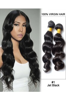 """20"""" Black Loose Wave Unprocessed Indian Remy Hair Weave Weft  Human Hair Extensions"""