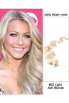 "14"" #22 Light Ash Blonde Body Wave Micro Loop 100% Remy Hair Human Hair Extensions-100 strands, 1g/strand"