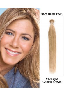 "14"" #12 Light Golden Brown Straight Stick Tip I Tip 100% Remy Hair Keratin Hair Extensions-100 strands, 1g/strand"