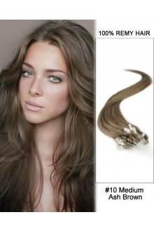 "14"" #10 Medium Ash Brown Straight Micro Loop 100% Remy Hair Human Hair Extensions-50 strands, 1g/strand"