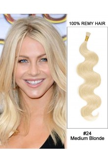 "14"" #24 Medium Blonde Body Wave Stick Tip I Tip 100% Remy Hair Keratin Hair Extensions-50 strands, 1g/strand"