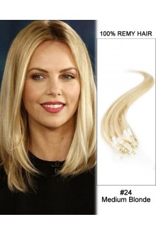 "14"" #24 Medium Blonde Straight Micro Loop 100% Remy Hair Human Hair Extensions-50 strands, 1g/strand"
