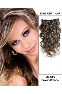 "16"" 7pcs #4/30 Medium Brown/Auburn Body Wave 100% Remy Hair Clip In Human Hair Extensions"