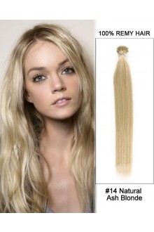 "14"" #14 Natural Ash Blonde Straight Stick Tip I Tip 100% Remy Hair Keratin Hair Extensions-100 strands, 1g/strand"